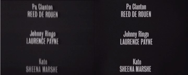 (Left) Film-recorded titles, (Right) Electronically recreated titles